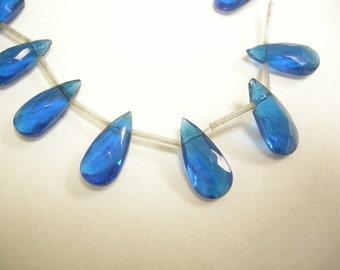 6pc 21.5x10mm faceted teardrop shape flat glass beads-6099