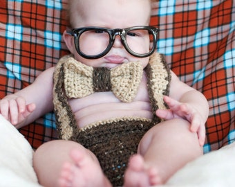 Instant Download PDF Nerd Baby Suspenders and Bowtie Diaper Cover Crochet PATTERN