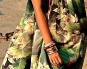 Gorgeous Silk Lotus Flower Drawstring Full Length Dress.