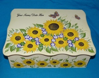 Decorative Wedding Keepsake Box Hand Painted Large Wood Memory Box Personalized Custom Sunflower Butterfly Anniversary Bridal Shower Gift