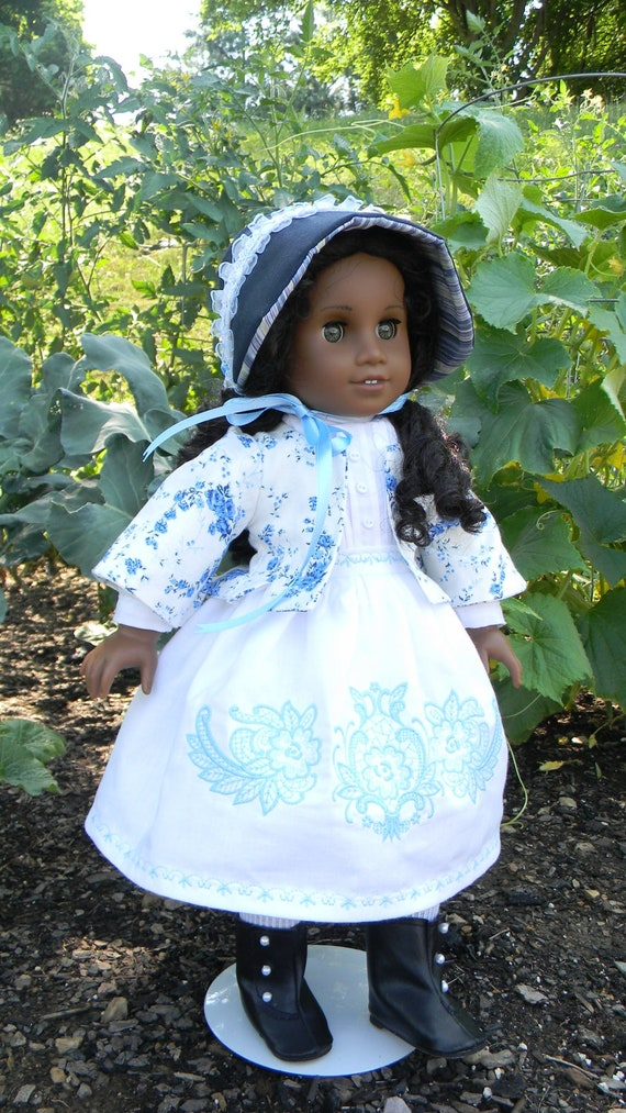 Reserved Listing for Baby 4340 Blue Floral Civil War Style gown with Bonnet