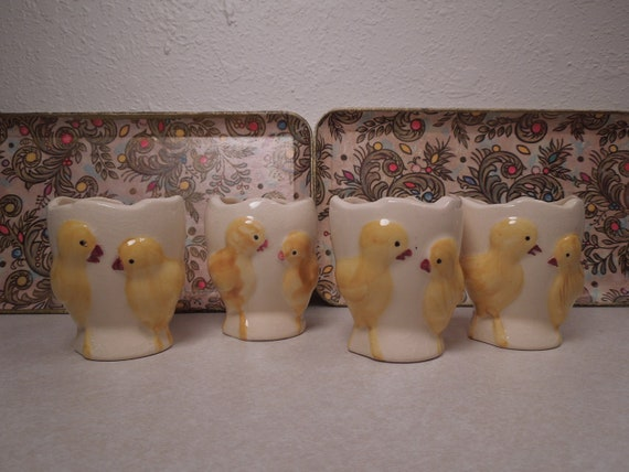 RESERVED FOR Clare - SALE Set of 4 Ceramic Fanny Farmer Chick Egg Cups