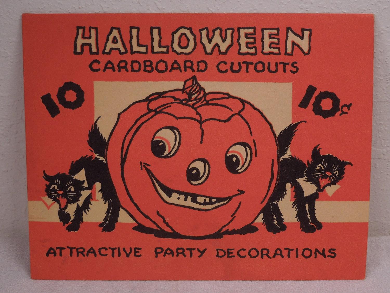 Vintage halloween paper decorations -  Vintage Paper Halloween Decorations With Original Envelope Zoom