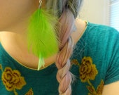 Lime Green Feather Earrings