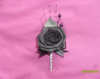Black rose buttonhole. Buttoniere. Gothic. Alternative. Steam punk. Burlesque.