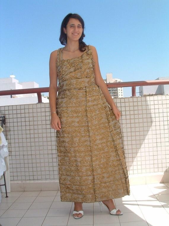 SALE OSCAR de  la RENTA  brocade silk gold dress made in France circa 1960's