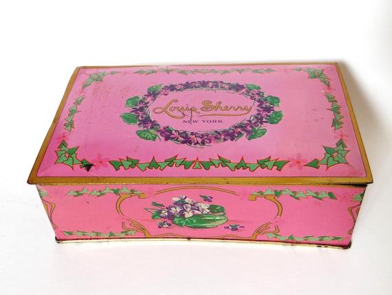 Vintage Candy Tin - Louis Sherry Metal Candy Box