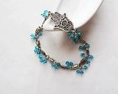 Silver Coated Hamsa-Hamsa Fatima Bracelet- True Blue-Christmas Gifts