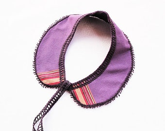 Purple Fabric Collar- Peter Pan collar- lace accessories- OOAK