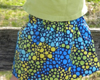 Skirt with Blue, Yellow, and Green Dots - Toddler Skirt - Toddler Twirl skirt -