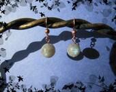 Pretty Solid Copper Faceted  Labradorite  Balls gemstone dangle earrings blue green flash