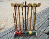 Very Old Croquet Set In Original Stand, 7 Balls, Six Malletts, 2 Posts, Wires Loops