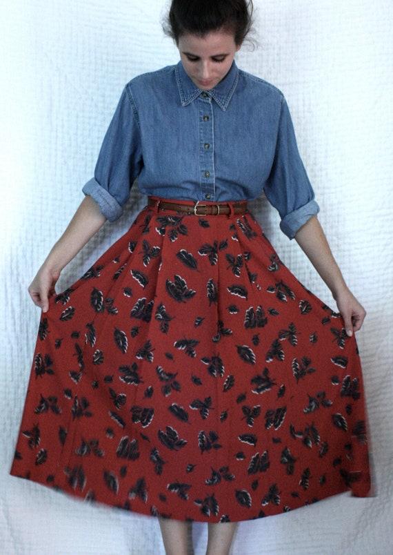 Red Leaf Maxi Skirt (LARGE)