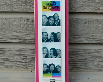 """Photo Booth Picture Frame - Wood - Holds a 2"""" x 8.5"""" Photo Strip - Distressed Edges - Hot Pink & White"""