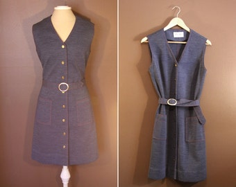 Grey/Blue Sleeveless Button Down Jean Like Dress with Red stitching - Size Medium