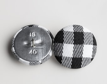 """10 Vintage 1"""" Fabric Covered Shank Buttons. Black, Grey and White Checked Design. Silver Metal Back and Shank Loop. Item 0324FC"""