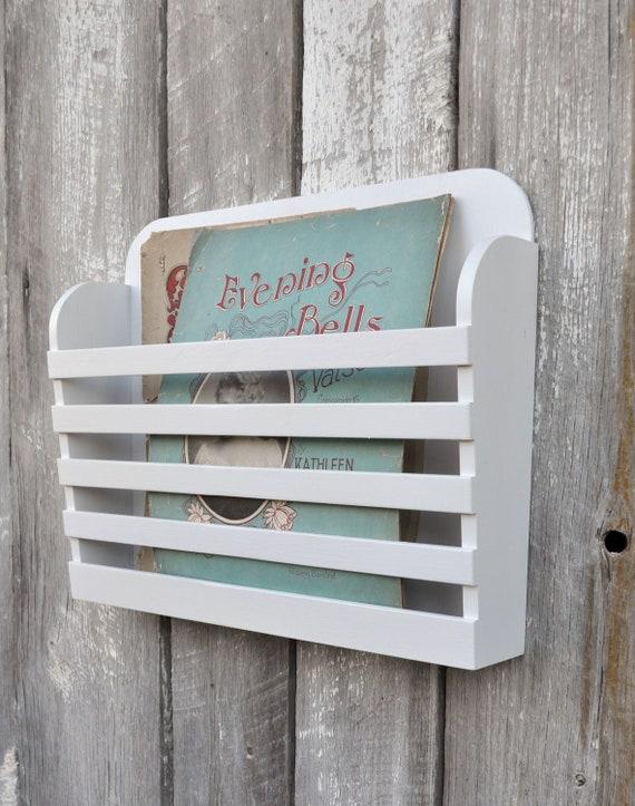 Rustic Hanging Magazine File Holder Solid White Vintage Design