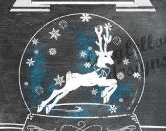 Printable Reindeer Snow Globe - Chalkboard Look - 3 x 4 Project Life Scrapbook Size - Digital File Only