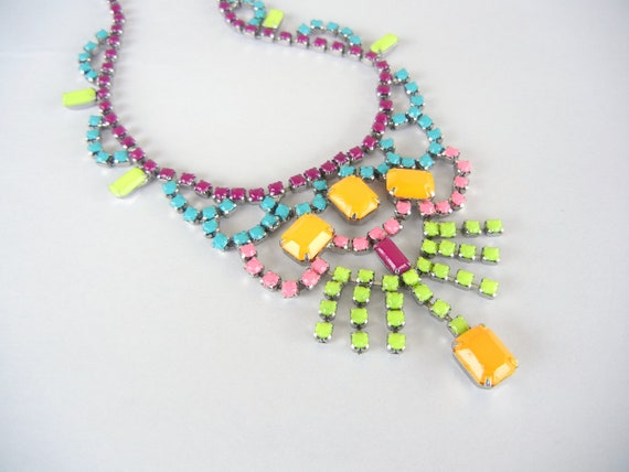 Vintage 1950s One Of  A Kind  Hand Painted Neon Colorful Rhinestone Bib Necklace