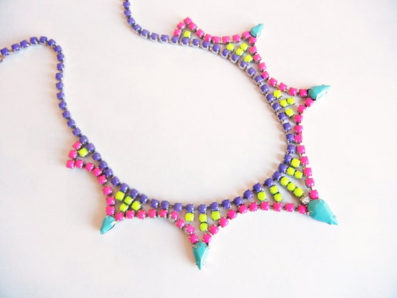 Vintage 1950s One Of  A Kind  Hand Painted Multi Colored Rhinestone Necklace
