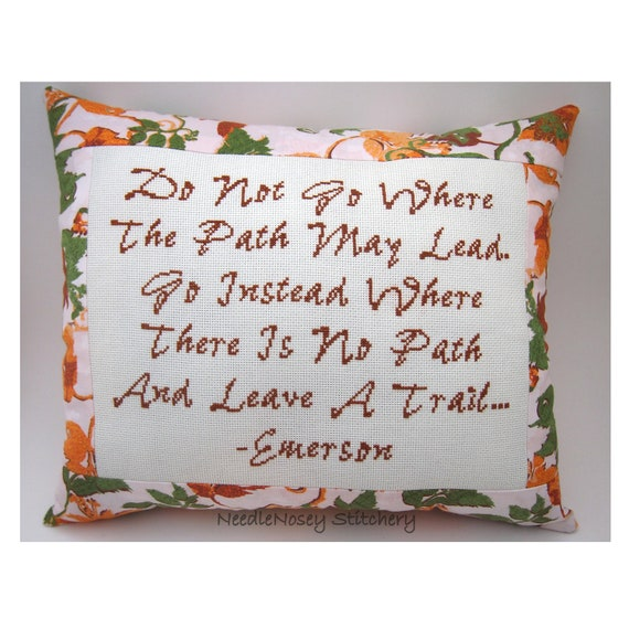 Cross Stitch Pillow, Emerson Quote, Fall Autumn Colors Pillow, Inspirational Quote