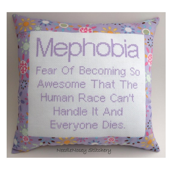 Funny Cross Stitch Pillow, Purple Pillow, Mephobia Quote