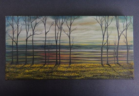 Original Contemporary Treescape Painting, Forest Painting, Landscape Oil Painting, Bare Trees River Painting, 6 x 12 x 1.5