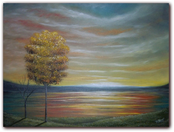 Original Golden Tree Oil Painting, Metallic Gold Flower Tree Painting, Landscape Painting, 12 x 16, Today Is Golden