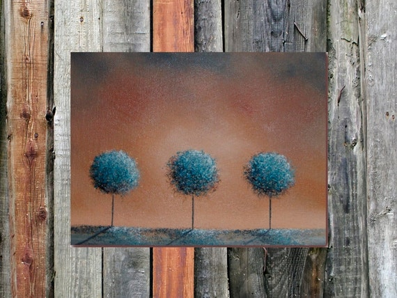 ORIGINAL Abstract Tree Oil Painting, Brown and Blue Contemporary Art, Textured Canvas, 6 x 8, Good Afternoon