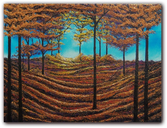 Original Autumn Forest Painting, Modern Abstract Oil Painting, Abstract Tree Art, Landscape Painting, 12 x 16, Floors of Gold