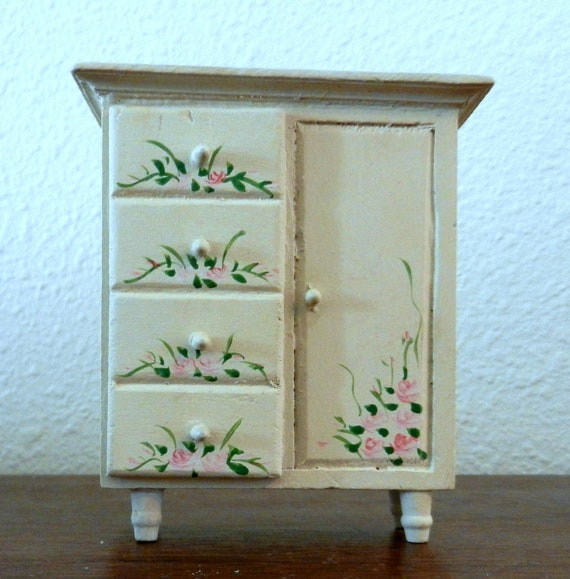 doll house furniture wooden hand painted bedroom dresser treasury list