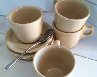 Vintage Buffalo China Tan Restaurant Cups and Saucers