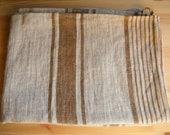 2 Natural Linen Bath Sauna Towels - Huckaback - Brown Stripe- Pure Flax- Bathroom Linens - Badetuch.