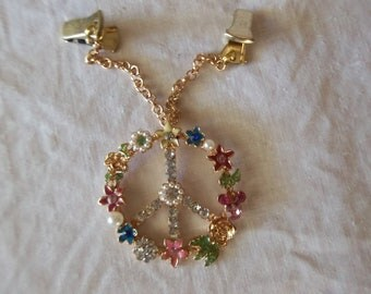 Groovy Peace Love Rhinestone and Enamel Sweater Guard