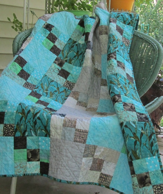 Modern Quilt:  Gray and Aqua Nine Patch Throw