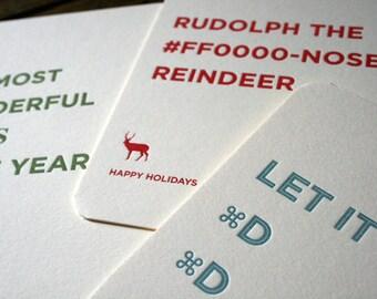 Letterpress Holiday Cards for Graphic & Website Designers (Set of 3)