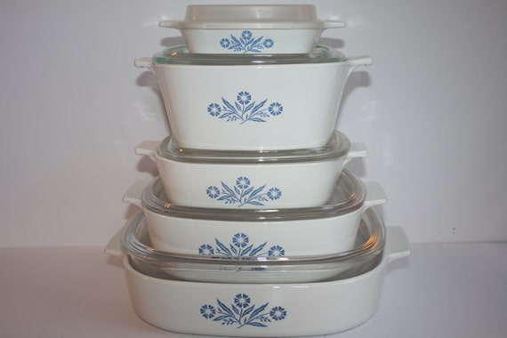 Vintage 10 Pc Set Corning Ware Blue Cornflower By