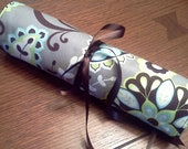 Brown, Gray, Lime, White, and Aqua Floral Polka Dot Travel Jewelry Roll