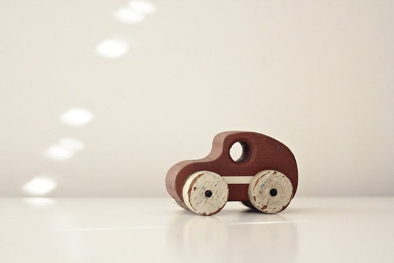 Vintage Wooden Toy Car Speedster - Plum Brown with White Racing Stripe and White Wheels - Rustic, Shabby Chic Kids Room Decor, Play Toys