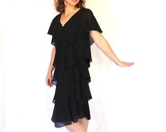 Black Party Dress. Vintage Little Black Dress. 80s Chiffon Layers Dress. Mad Men Fashion. Medium Formal Dress. Holiday dress. New Year dress