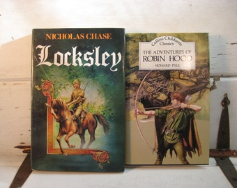 The Adventures of Robin Hood, Howard Pyle and Locksley by Nicholas Chase,Vintage classic story books, set of 2 hardcover