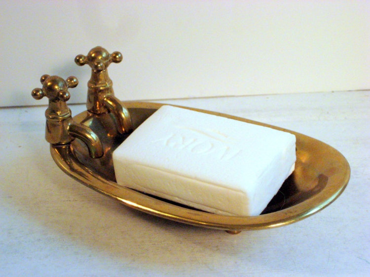 Brass Bathtub Shaped Soap Dish Vintage Shabby By