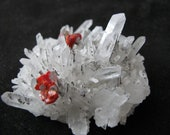 Mineral Specimen - Realgar, Quartz - Palomo Mine, Julcani Dist., Huancavelica Dept., Peru