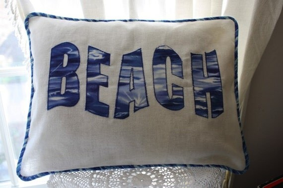 Beach Pillow Blue and White Linen Cottage Style Cover With Insert