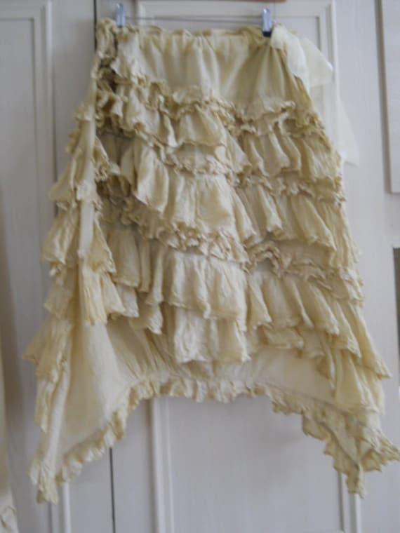 Southern Gothic  by RitaNoTiara Victorian Romantic Cream Gypsy Prairie Fairy Romantic Asymmetric Skirt Quirky Lagenlook OSFA by RitaNoTiara