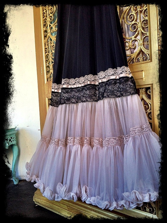 black lace & nude chiffon revived 1950s pin up prom dress by mermaid miss k