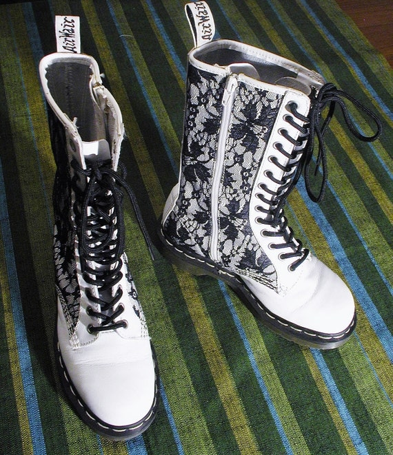 Bloody Brilliant WHITE LEATHER & LACE Doc Martens Combat Boots, Size 6 usa, 4 uk, 37 eu
