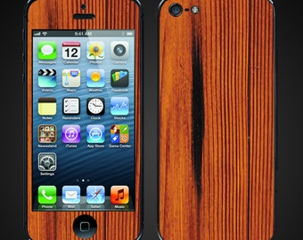 iPhone 5 vinyl Decal - Faux Red Wood redwood - Skin wrap - Free Shipping - NOT a HARD CASE