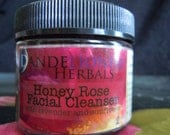 Honey Rose Facial Cleanser: Gentle Exfoliant with Lavender and Sunflower, Herbal Scrub for Sensitive Skin with Kaolin Clay and Jojoba Oil