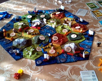 Custom 3D Settlers of Catan Game Board with Ports and Fishery Frame Pieces // The BAMF Board // Durable Polymer Clay--Great for Heavy Gaming
